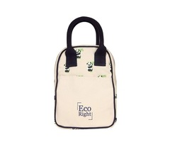 Ecofriendly Canvas Lunch Tote Bag with Bottle Holder & Zipper for Travel shipping business washa