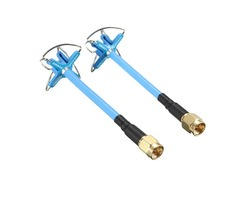 1 Pair Aomway 5.8GHz 3dBi LHCP Omni Directional 4 Leaf Clover FPV Antenna Blue/Red With Canopy Case
