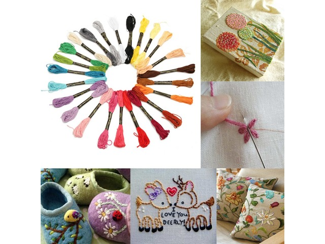 8m 24 Different Colors Cross Stitch Thread DIY Handicraft Embroidery Knitting Thread   FreeAds.info