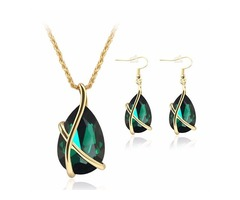 Crystal Water Drop Necklace Earrings Jewelry Set For Women