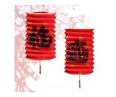 "10 PCS Chinese""Fu""Reunion Hanging Red Paper Lamp Lantern New Year Festival Decor"