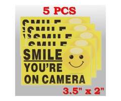 5Pcs Smile You're On Camera Self-adhensive Video Alarm Safety Camera Stickers Sign Decal