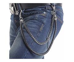 Biker Men PU Leather Metal Double Link Wallet Chains Biker Trucker Punk Jean Key Chain