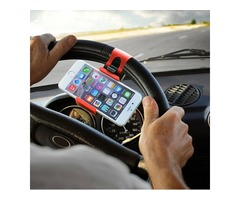 Universal Mobile Phone Stand Holder Mount Clip Buckle Socket on Car Steel Ring Wheel for iPhone 6 Pl