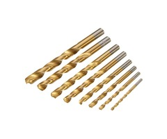 8pcs HSS Titanium Coated Twist Drill Bit Set 3-10mm Straight Shank Twist Drill Bit
