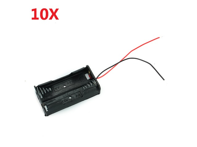 2X 1.5V AA Battery Holder Case Enclosed Box With Wires 10pcs | FreeAds.info