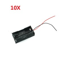 2X 1.5V AA Battery Holder Case Enclosed Box With Wires 10pcs