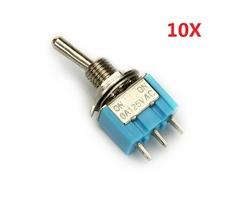 Wendao MTS-102 ON/ON SPDT AC 125V 6A 3 Pins Toggle Rocker Switch 10pcs   FreeAds.info
