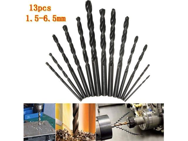 13pcs 1.5-6.5mm HSS Twist Drill Bit Straight Shank High Speed Steel Twist Drill Bit Set | FreeAds.info