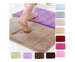 Honana WX-326 50x80cm Stripe Pattern Memory Foam Mat Absorbent Bathroom Anti Slip Carpet
