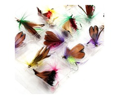 12pcs/lot Fly Fishing Hooks Fishing Lure Feather Steel Bait Hook Tackle Insect Artificial Lure Carp