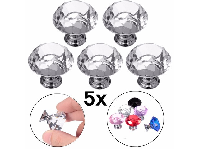 5Pcs 30mm Diamond Crystal Glass Door Drawer Cabinet Furniture Handle Knobs | FreeAds.info