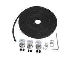 5m GT2 Timing Belt with 3pcs 5mm Bore Pulley and 2pcs Belt Locking Spring