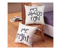 Honana WX-D88 2Pcs Mr Right Creative Cotton Linen Pillow Cover Bed Sofa Car Pillowcase