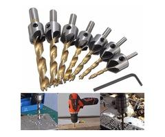 7pcs 3-10mm 5 Flute HSS Countersink Drill Bit Set Carpentry Reamer Woodworking Chamfer End Milling
