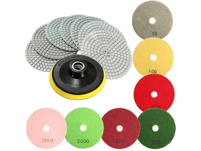 8pcs  4 Inch 50 to 3000 Grit Diamond Polishing Pads for Granite Stone Concrete Marble | FreeAds.info
