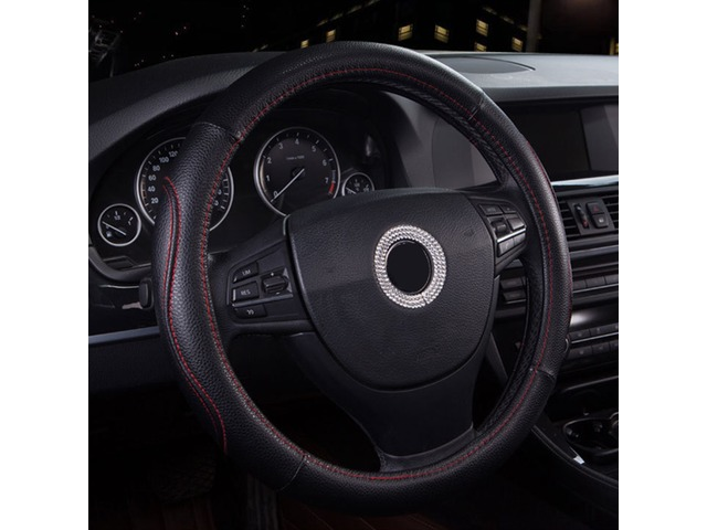 38cm Non-slip Black PU Leather Sport Car Steel Ring Wheel Cover Protector | FreeAds.info