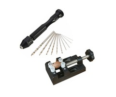 Mini Aluminum Hand Drill with Carving Bench Clamp and 10 Twist Drills