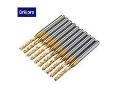 Drillpro DB-M11 10pcs 2.0mm 1/8 Inch Shank Carbide End Mill Engraving Bits for CNC PCB Rotary Burrs