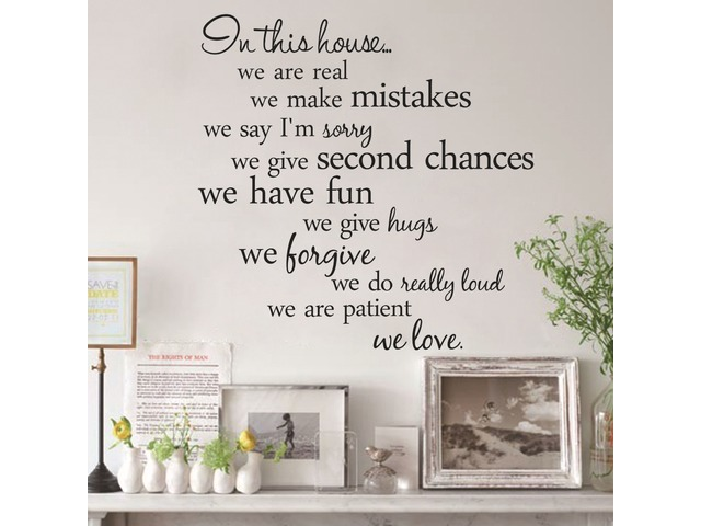 60X56CM In This House English Letter Proverbs Wall Stickers Home Decoration | FreeAds.info