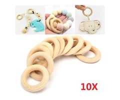 10Pcs Natural Wooden 34mm Round Rings DIY Craft Wood Hardware