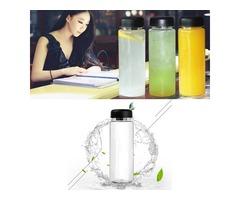 500ml Portable Clear Water Bottle Sport Bicycle Plastic Fruit Lemon Juice Water Cup