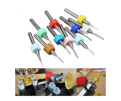 10pcs 0.5-1.4mm Carbide End Mill Set PCB Cutter 3.175mm Shank CNC Engraving Bit